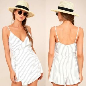 LULU'S - at the seashore white striped romper